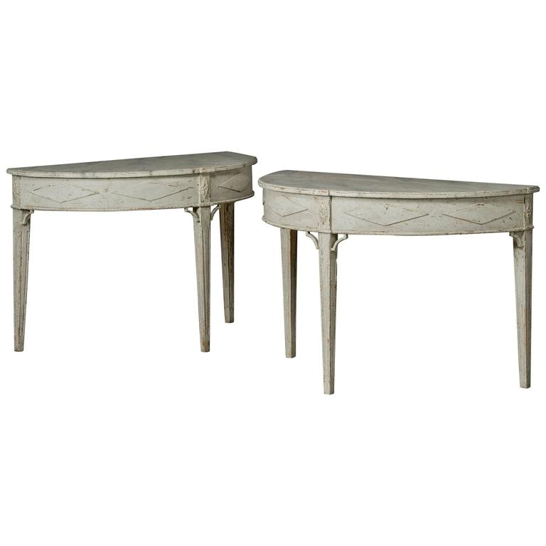 Pair of gustavian demilune console tables sweden 1820 1830 at 1stdibs White demilune console table