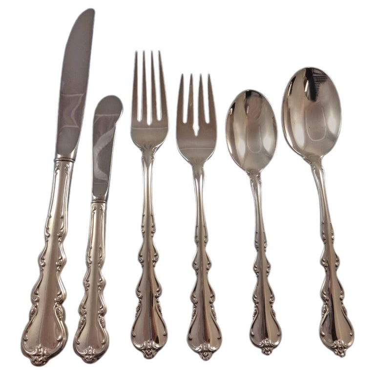 International Silver Angelique sterling-silver 14-piece flatware set, 1950–59, offered by Antique Cupboard