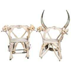 Pair of Large Bone Chairs