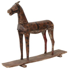 Carved Wooden and Painted Toy Horse