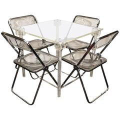 Charles Hollis Jones Lucite Game Table with Set of Four Piretti 'Plia' Chairs