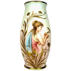 Painted Neoclassical Porcelain Art Nouveau Vase, Lady Releasing Bird