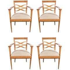 Exquisite Set Of Four Mid Century Dining Chairs In The Manner Of Adnet