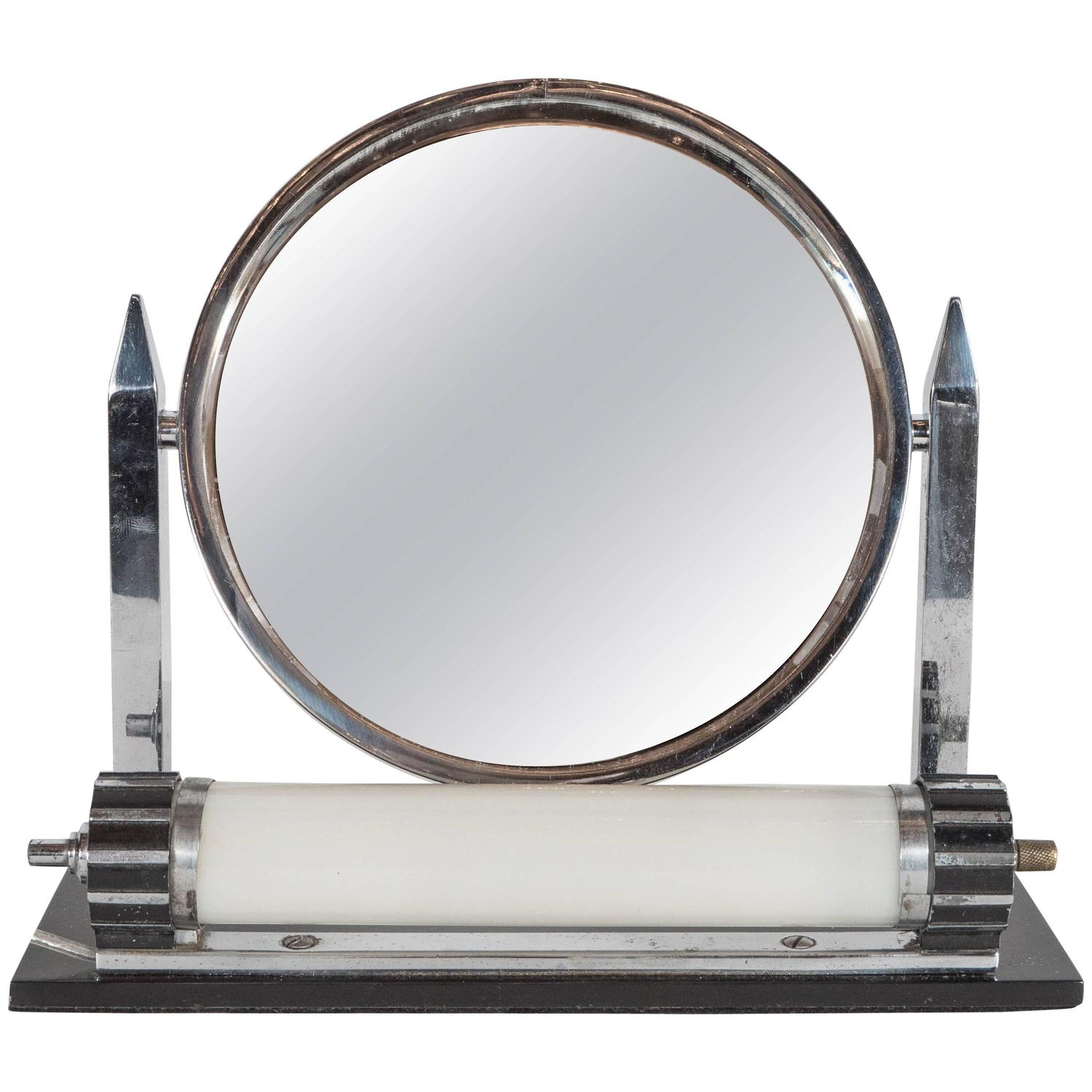 machine age illuminating art deco vanity mirror and light for sale at 1stdibs. Black Bedroom Furniture Sets. Home Design Ideas