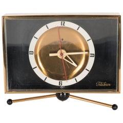 Sophisticated Mid-Century Modernist Brass Clock on Pedestal by Telechron