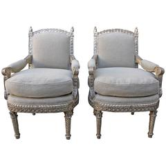 Pair of Carved Italian Silvered Armchairs
