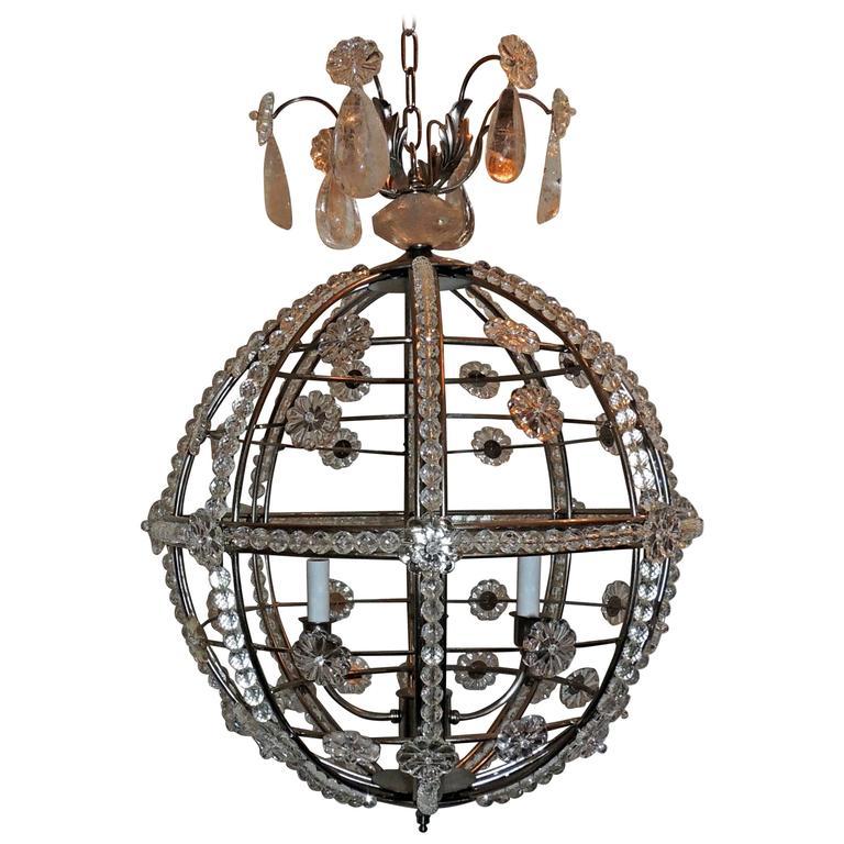 Modern Transitional Brushed Nickel Sputnik Rock Crystal Globe Chandelier Fixture For