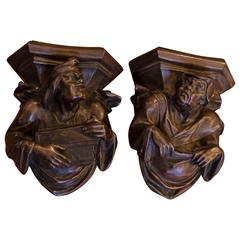 Pair of French Bronze Grotesque Figural Wall Brackets