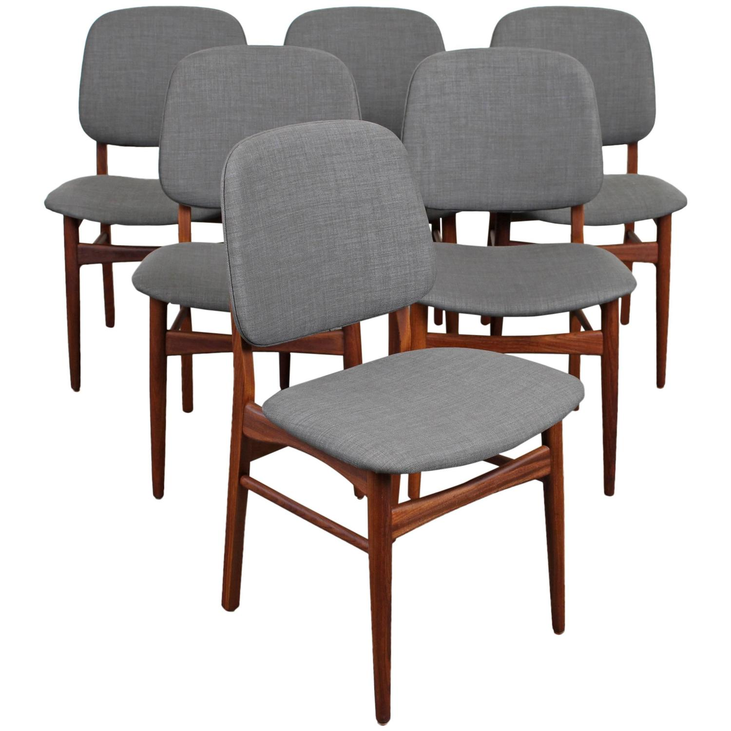 set of six mid century danish modern teak dining chairs at