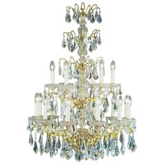 Large Cut Crystal Eighteen-Branch Early 20th Century Spanish Chandelier