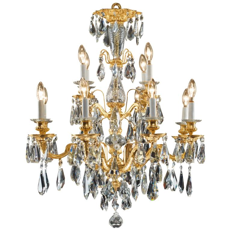 Antique Bronze and Cut Crystal Twelve-Branch Spanish Chandelier - Spanish Bronze And Crystal Chandelier For Sale At 1stdibs