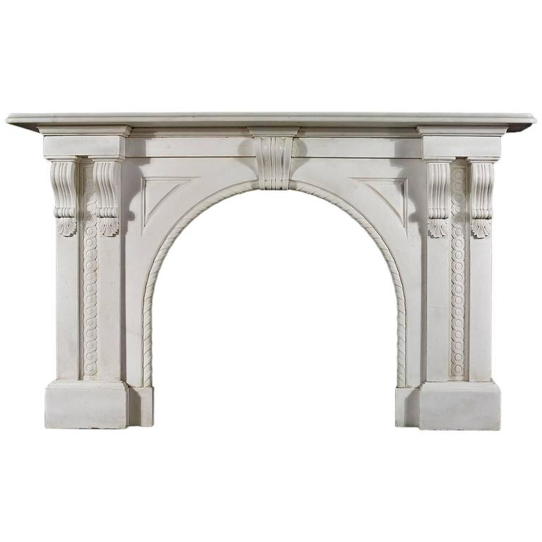 Antique White Statuary Marble Victorian Arched Fireplace Mantel