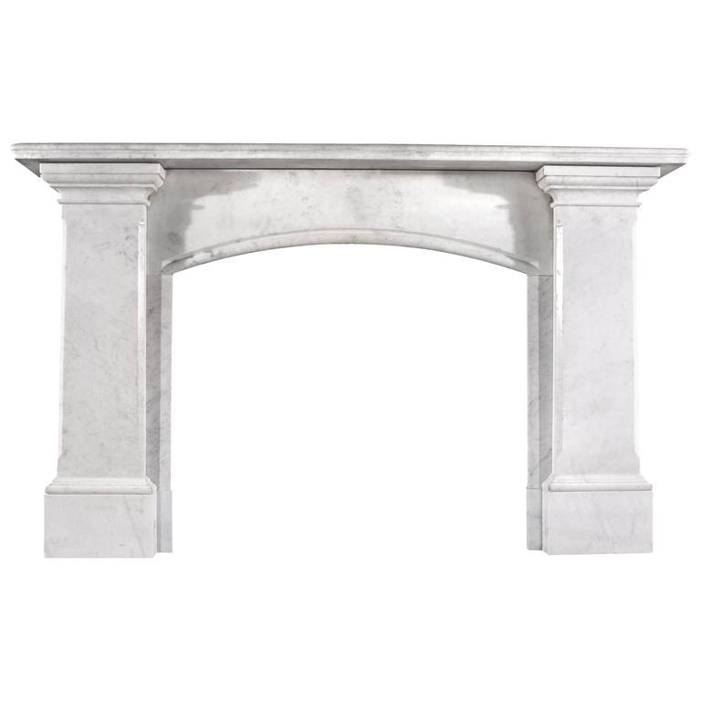 Striking Carrara Marble Antique Regency Fireplace Mantel