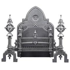 Huge Ornate Antique English Gothic Revival Cast Iron Fireplace Grate