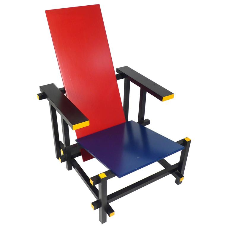 Vintage Gerrit Rietveld Chair Produced under License by Cassina For Sale