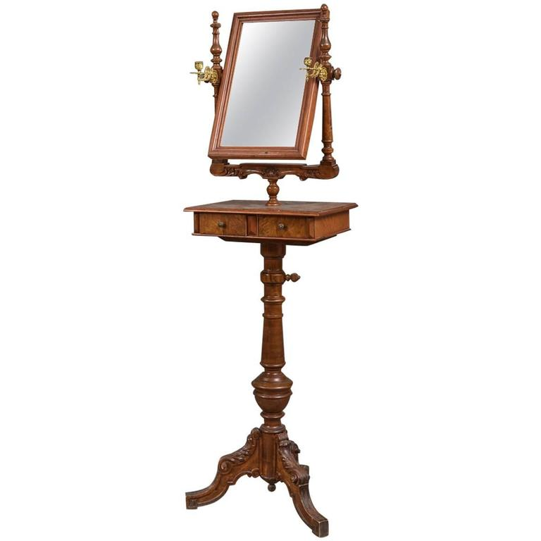 19th Century Danish Walnut Candle Stand with Mirror