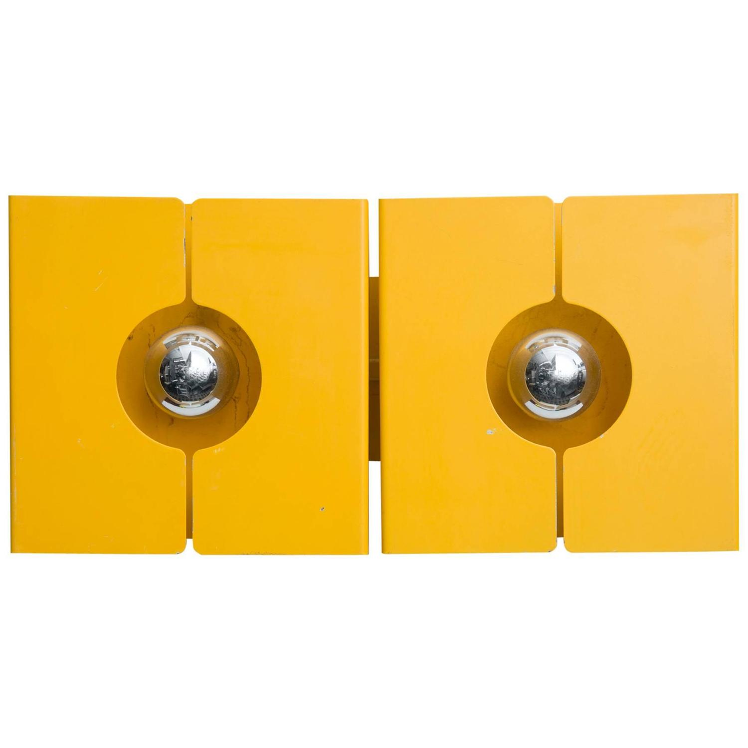 Mod Double Yellow Metal 1970s Wall Sconce from La Pagne Ski Resort, France at 1stdibs