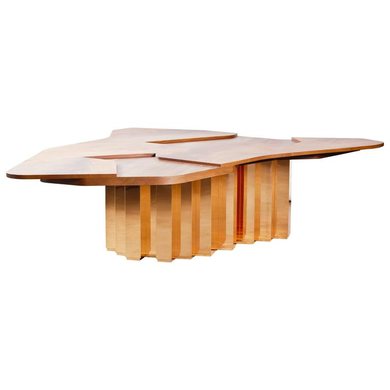 """Contemporary """"Terra Continens"""" Table by Karen Chekerdjian in Mahogany and Copper"""