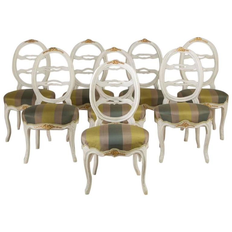 Harlequin Set of Eight Swedish Dining Chairs For Sale