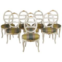 Harlequin Set of Eight Swedish Dining Chairs