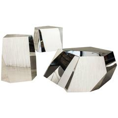 Contemporary Object 04 D-E-F Stools or Side-Tables in Stainless Steel