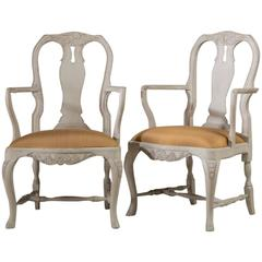 Pair of Swedish Rococo Style Painted Armchairs, 1920s