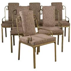 Set of Six Mastercraft Brass-Framed Dining Chairs, 1970s
