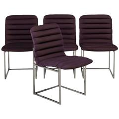 Set of Four Nickel-Framed Silk Dining Chairs, Late 1960s