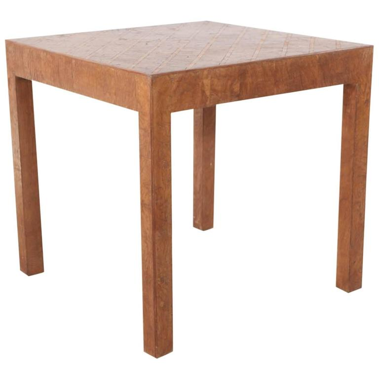 Tall Square Side Table In Burl Marquetry Finish At 1stdibs