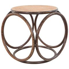 Round Bamboo Stool with Cane Top