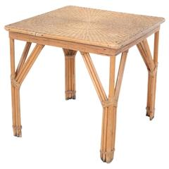 Bamboo and Woven Game Table