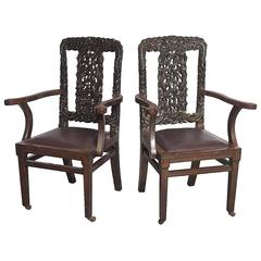 Decorative Antique Hand Carved Chinese Arm Chairs