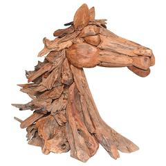 20th Century Large Modern Driftwood Horse Sculpture