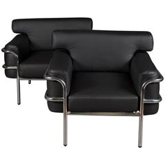 Pair of Iconic Vintage Le Corbusier Style Black Leather Club Chairs