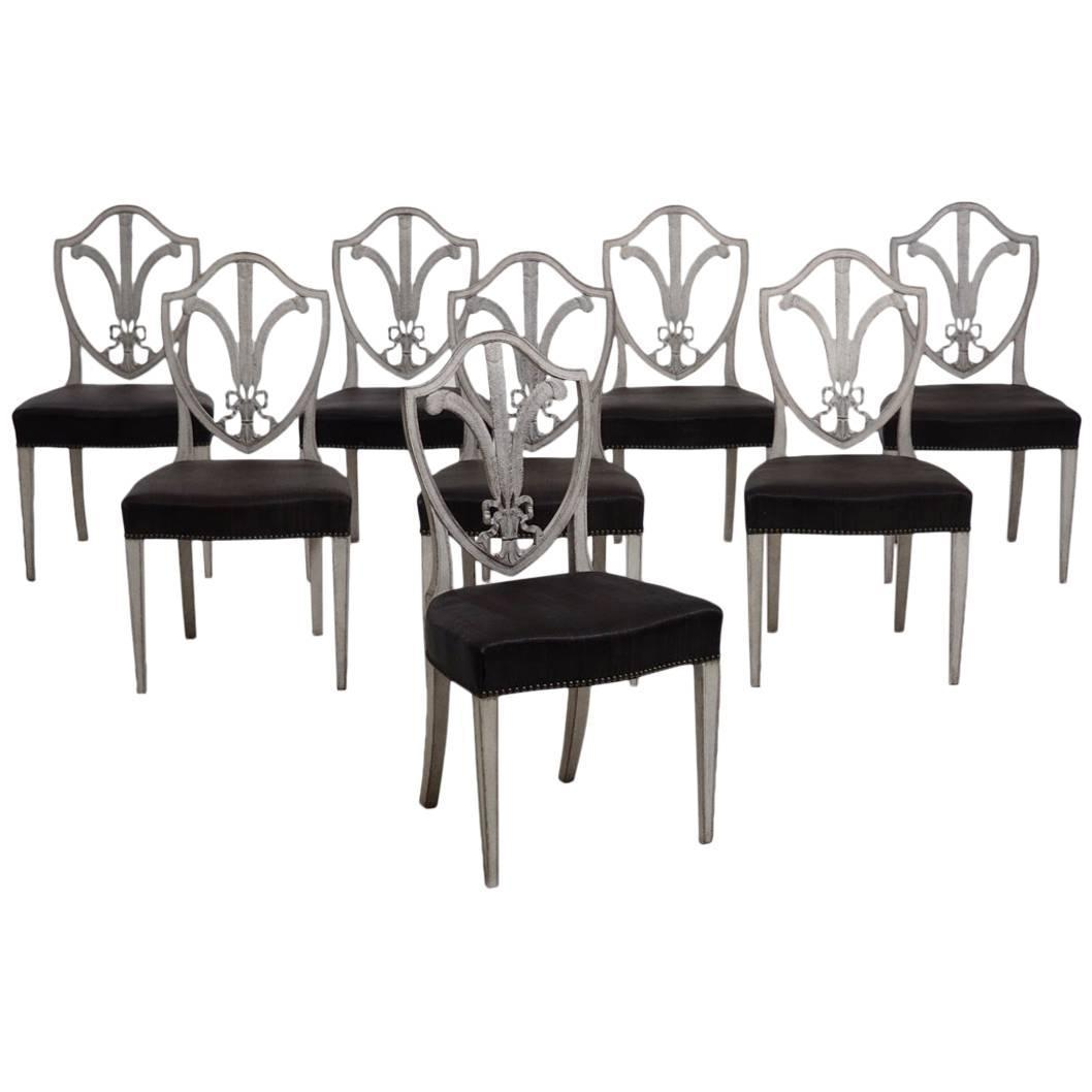 Set of eight swedish dining chairs in the gustavian style for Swedish style dining chairs