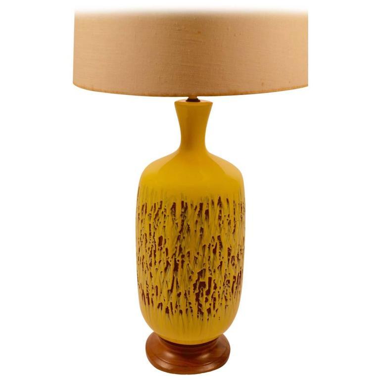 Large Volcanic Glaze Yellow Ceramic Lamp For Sale