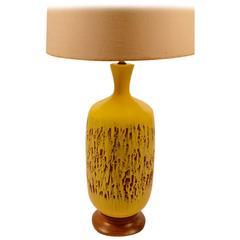 Large Volcanic Glaze Yellow Ceramic Lamp