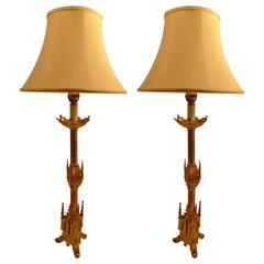 Pair of Gothic Revival Pricket Lamps