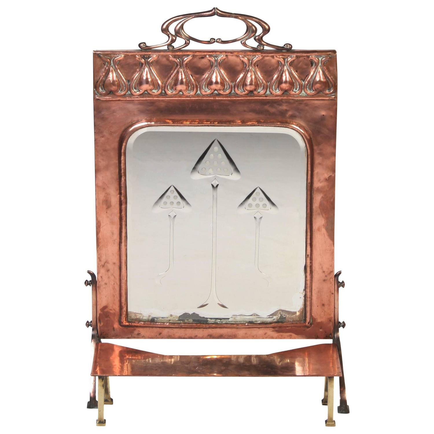 Art Nouveau Period Copper Fire Screen For Sale At 1stdibs