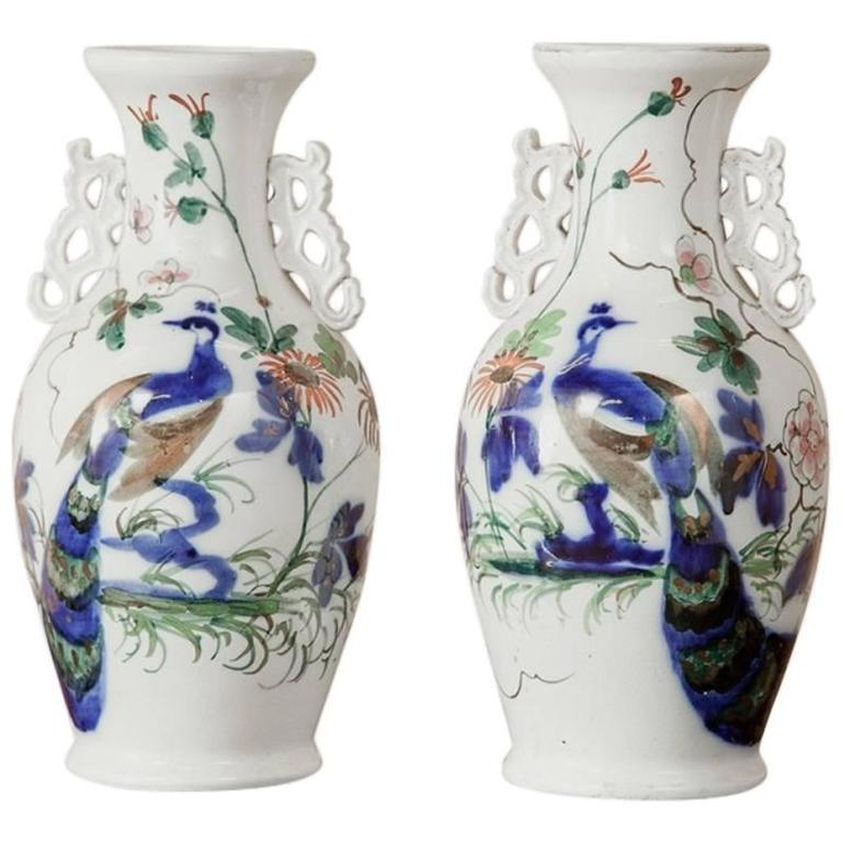 Pair Of Chinese Blue And White Peacock Porcelain Cobalt Vases At 1stdibs