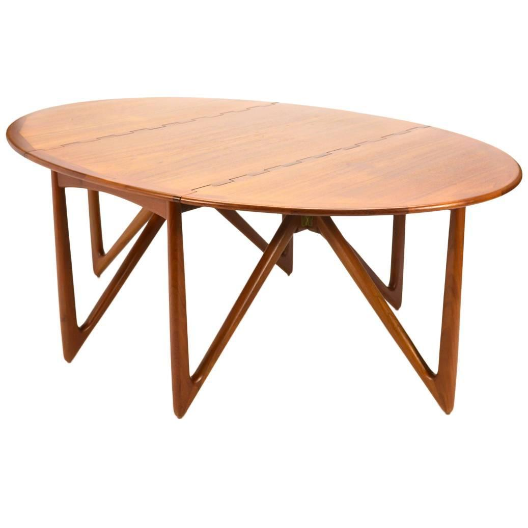 Niels kofoed drop leaf teak dining table at 1stdibs for Dining room table replacement leaf