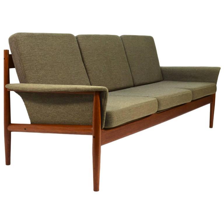 grete jalk three seat sculpted teak sofa at 1stdibs