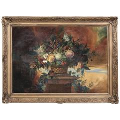 Hand Painted Original Oil Still Life Painting on Board in 19th Century Frame