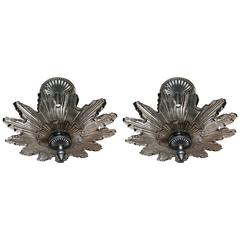 Modern Transitional Pair of Deco Style Starburst Three-Light Chandelier Fixtures