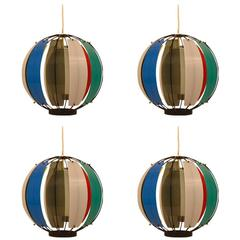 Set of Four Acrylic Band Ball Lights by Lightolier after Lelii