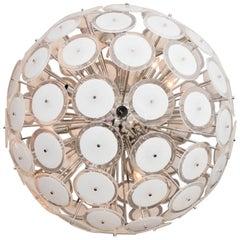 Large White Murano Glass Disc Sputnik Chandelier