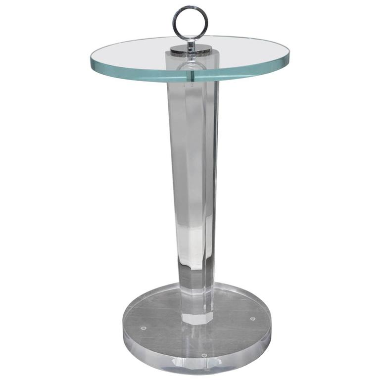 Lucite and Glass Occasional Table with Nickel Hardware For Sale