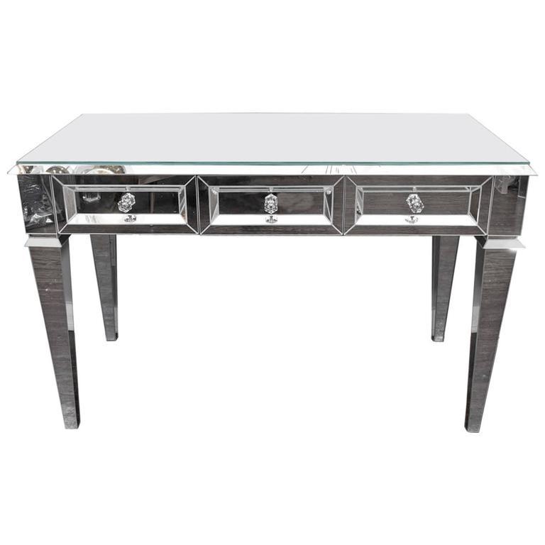 Custom Beveled Starphire Mirror Desk For