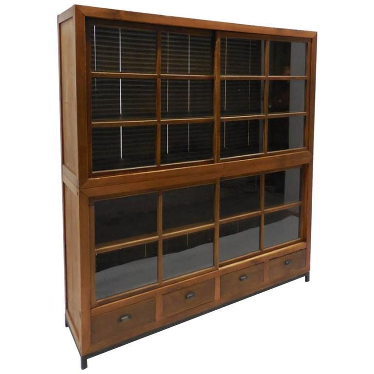 Japanese Double Glass Sliding Door Cabinet At 1stdibs