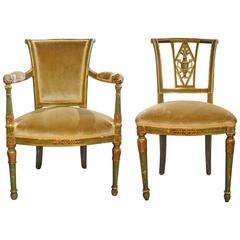 18th Century Italian Paint and Gilt Ballroom Arm and Side Chair